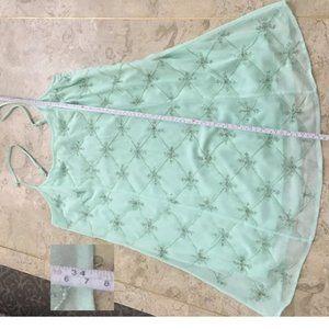 Mint crepe georgette beaded dress size L new